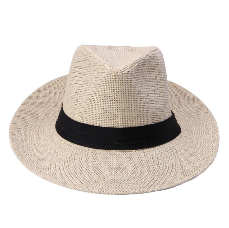 Горячая Мода Лето Повседневная Мужская Пляж Шляпа Большой Шляпы Джаз Вс Шляпа Панама Бумаги Соломы Женщины Мужчины Кепка С Черной Лентой