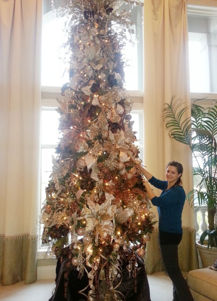 14 foot champagne christmas tree charlotte from silk scapes decorated for a lovely clients home - 14 Foot Christmas Tree