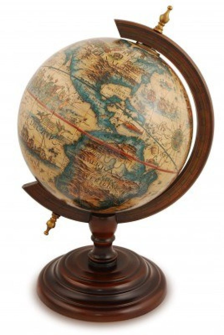 Antique globe from a red wood. Isolated on white. Stock ...