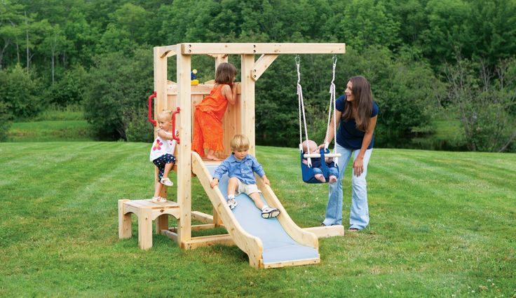 Frolic 846 swing set and playset is splinter-free, chemical-free, and maintenance-free and features swings, slides, climbing walls, jungle gyms, and more