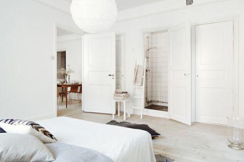 ▲ white & neutrals.: Ladder, White Spaces, Floors Colors, Fantastic Frank, Stockholm Apartment, White Bedrooms, Shower, Closet, My Scandinavian Home