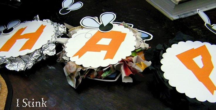 I Stink: Garbage Party Happy Birthday Banner...Set of 1 Banner. $35.00, via Etsy.