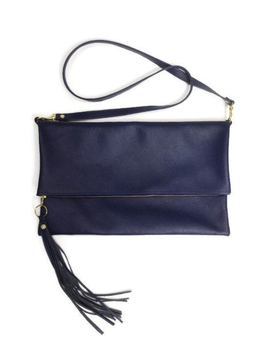 Blue Large Leather Messenger Bag And Clutch By AngelaValentineBags $110