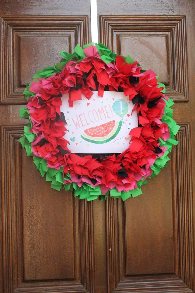 Fun wreath at a sweet watermelon birthday party! See more party ideas at CatchMyParty.com!