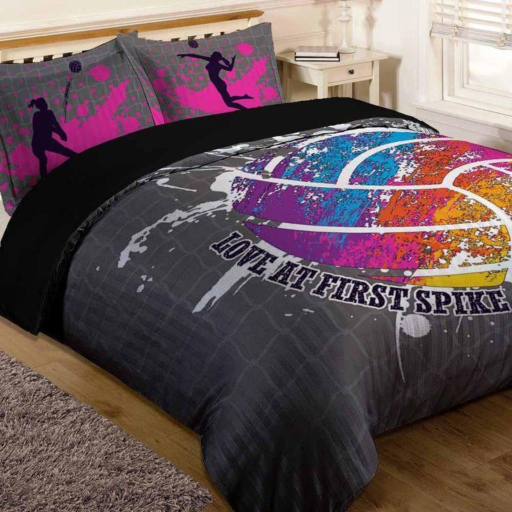 Volleyball Bedding | Volleyball Bed Set (Limited Edition) Pillow inserts are not included. Features a single-sided full color print on luxurious brushed polyest