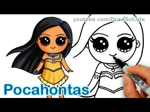 How to draw disney princess pocahontas cute step by step