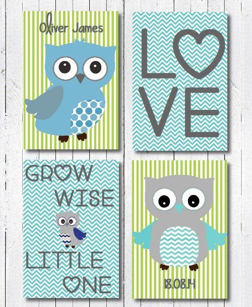 Baby Boy Owl Nursery Art Print Blue and by PerfectLittlePrints