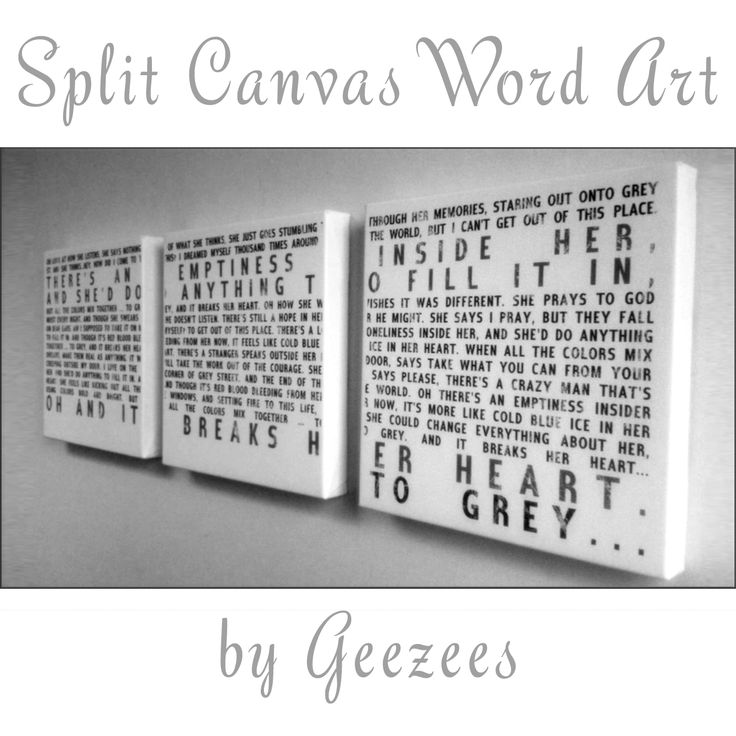 split canvas word art. Quote something from your favourite book, song lyrics, the bible, or whatever else you want!