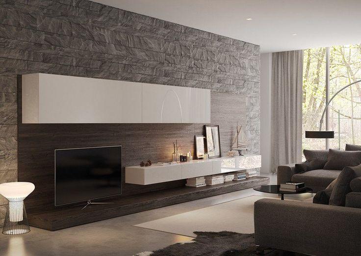 parement mural en pierre grise, meuble TV blanc laqué moderne