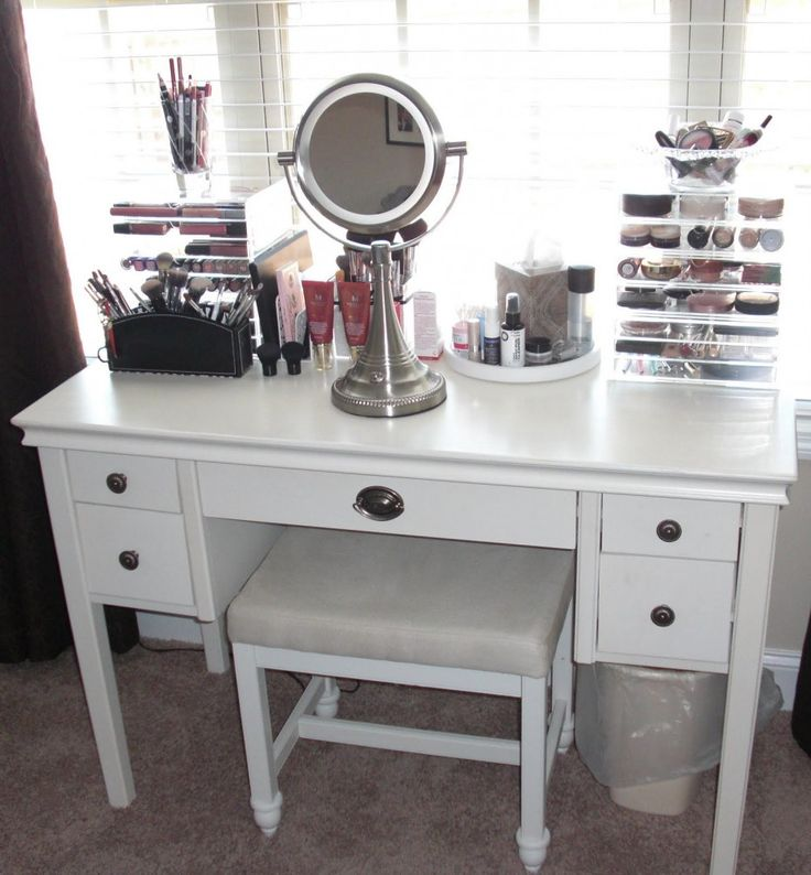 Furniture Inspiration. Appealing Makeup Vanity Decorating And Designs: Classic Chrome Adjustable Pedestal Vanity Mirror On Simple White Wooden Double Side Storage Make Up Vanity 5 Drawers With Stool As Well As Triple Window Glass Decorating Girls Room Designs