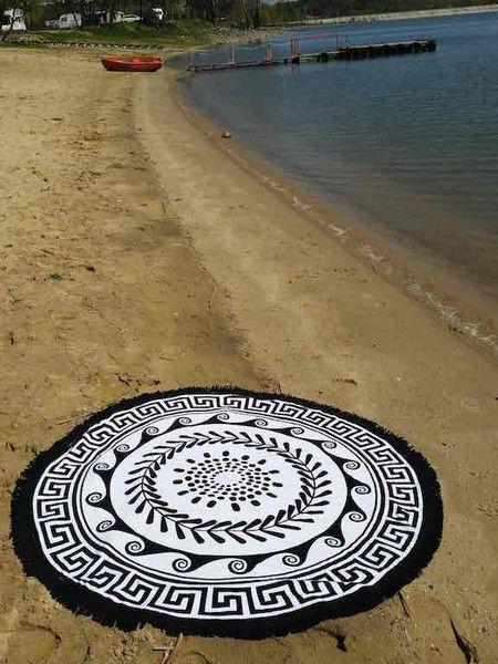"""Ręcznik Plażowy Okrągły """"GREEK SUN Black"""" 150 cm"""
