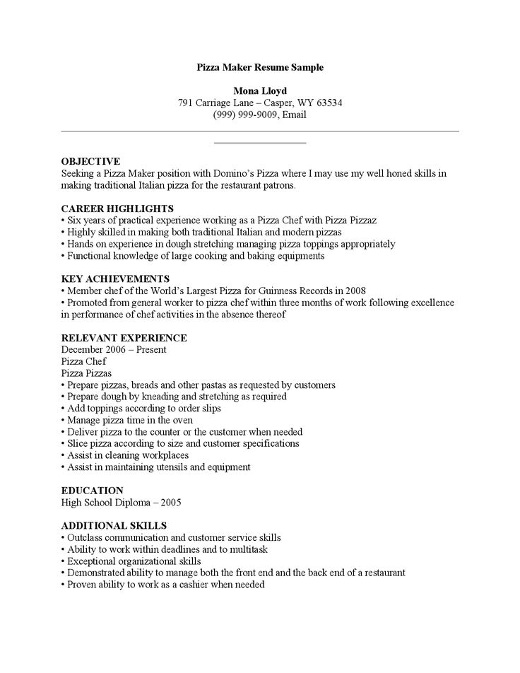 cover letter maker human resource sample thankyou pizza Home - sample kitchen helper resume