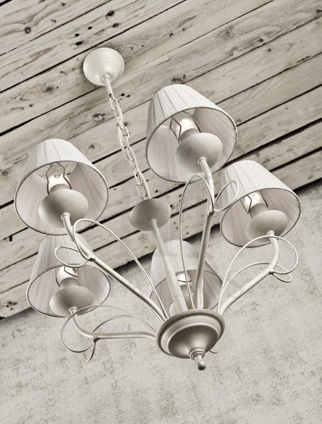ΜΑΥΡΟΣ -- 5-bulb rustic chandelier with shades   SANTORINI