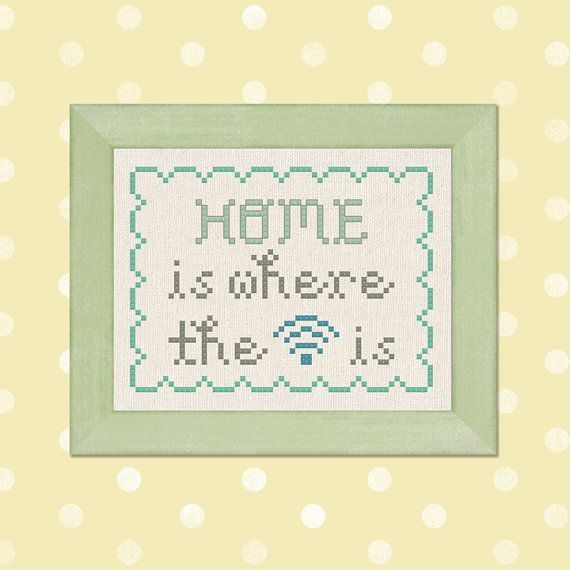 free cross-stitch patterns home is where wifi - Google Search