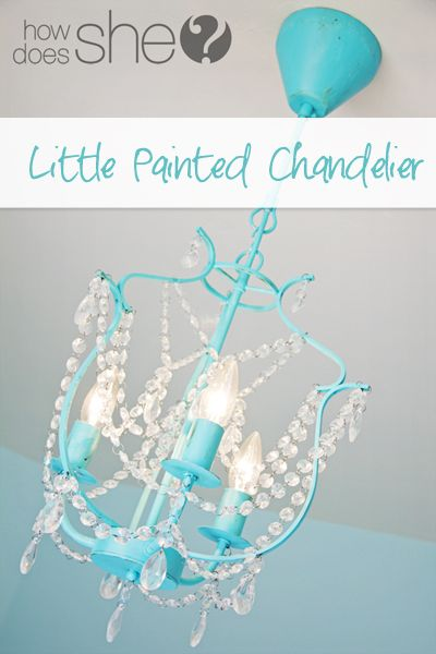 Little Painted Chandelier | paint inexpensive ikea chandelier any color to match decor!  ;)  i love the aqua