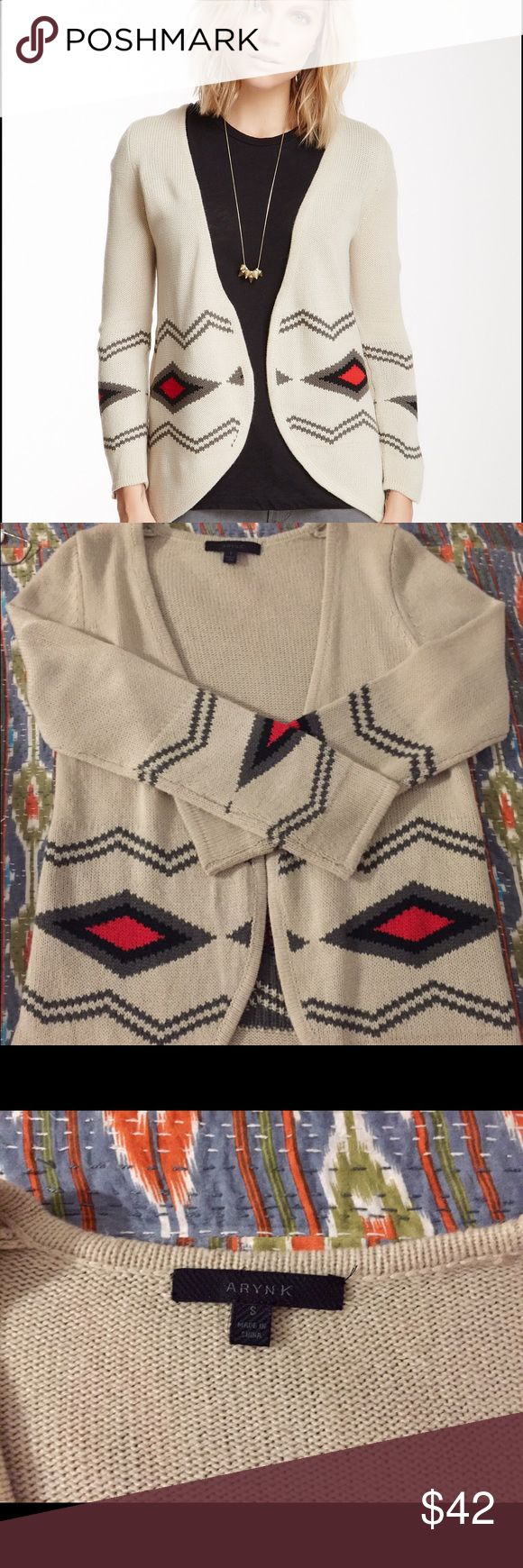 Aryn K Tribal Print Knit Sweater Beautiful tribal print sweater in cream, red, black and grey.  Size S but fits more like and XS with sleeves that hit just below the elbow. Aryn K Sweaters