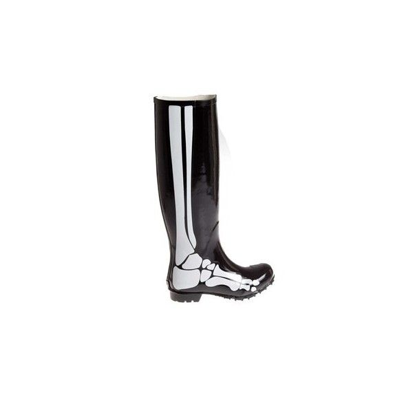 BEANDD Skeleton rain boots ($65) ❤ liked on Polyvore featuring shoes, boots, wellington boots, black white shoes, black and white rain boots, rain boots and rubber boots