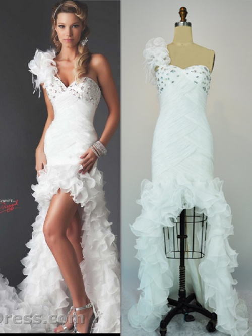 Hot Sale!!! Free Shipping 2012 A Line One Shoulder Satin Front Short and Long Back Wedding Dresses With Ruffles(MD010) on AliExpress.com. $199.90