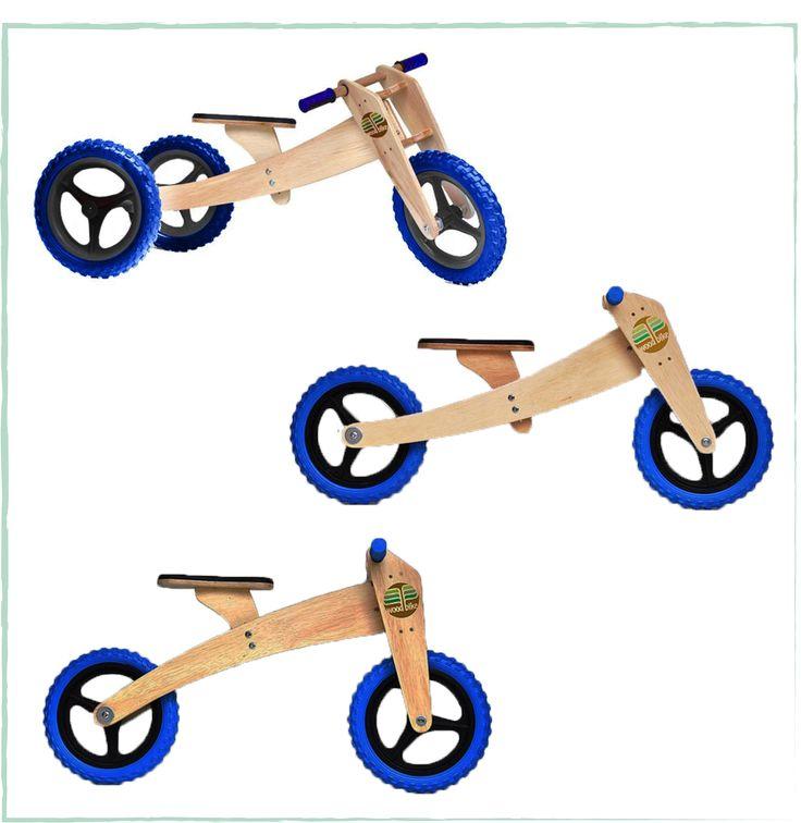 Nada de pressão ou obrigação. Sozinha, a criança aprende a equilibrar-se na bicicleta sem pedais, com autonomia e muita diversão! Desenvolve naturalmente e a seu tempo a coordenação motora, os reflexos e as lateralidades. A bicicleta de madeira possui 3 estágios: o triciclo, a bike com 2 rodas e quadro baixo e com o quadro invertido, que aumenta a altura para quando a criança está maior! Durável e segura, pode ser facilmente montada e desmontada por um adulto, para adaptá-la às fases…