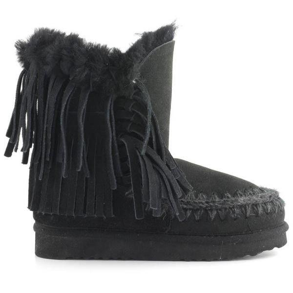 MOU Eskimo Fringe Short Boots Black - MOU #mou #fashion #newshoes #women #streetstyle