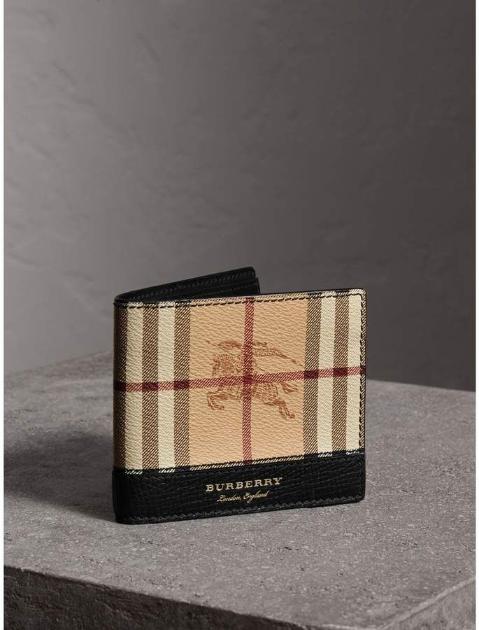 4662bf8a8a6e Burberry Haymarket Check and Leather International Bifold Wallet ...