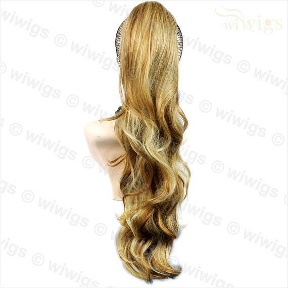 Long Wavy Medium Blonde Ponytail Jaw Claw Clip in Hair by Wiwigs