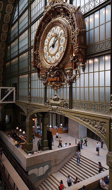 Le Grande Horloge,  Le Musée d'Orsay - Entrée - Grande Horloge   (The Grand Clock at The Musee d'Orsay Museum, Paris, France).  This museum is housed in a grand railway station built in 1900.