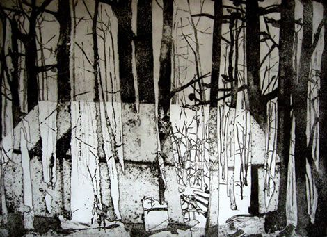 Refuge   2008   Etching and sugarlift on paper   59 x 43cm by Katherine Jones
