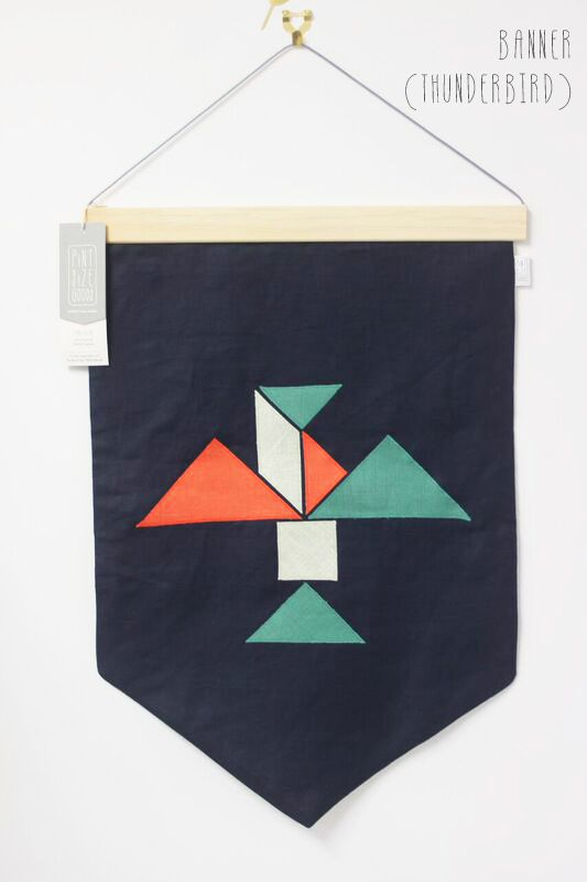 Thunderbird Linen Wall Banner by PINT SIZE GOODS (The Tangram Tribe Collection)