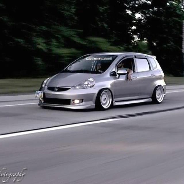 My 2007 Honda fit sport slammed and stanced
