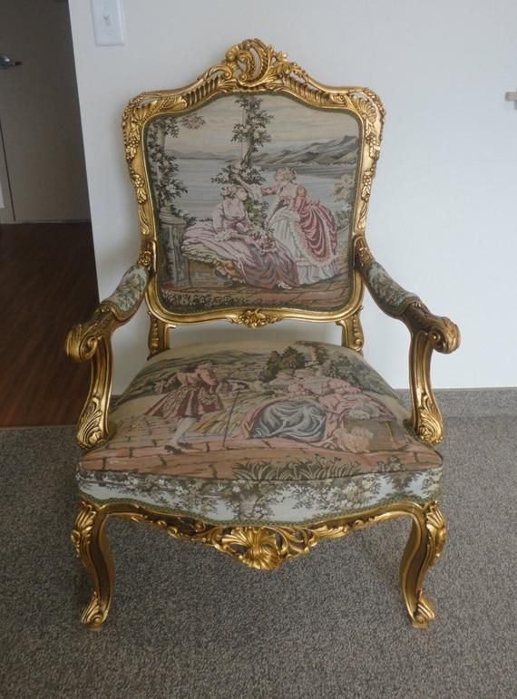 French Baroque French Tapestry Massive Antique Chair In 2020