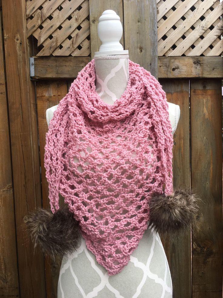 Blush Pink Faux Fur Pom Pom Trinity Triangle Spring Scarf
