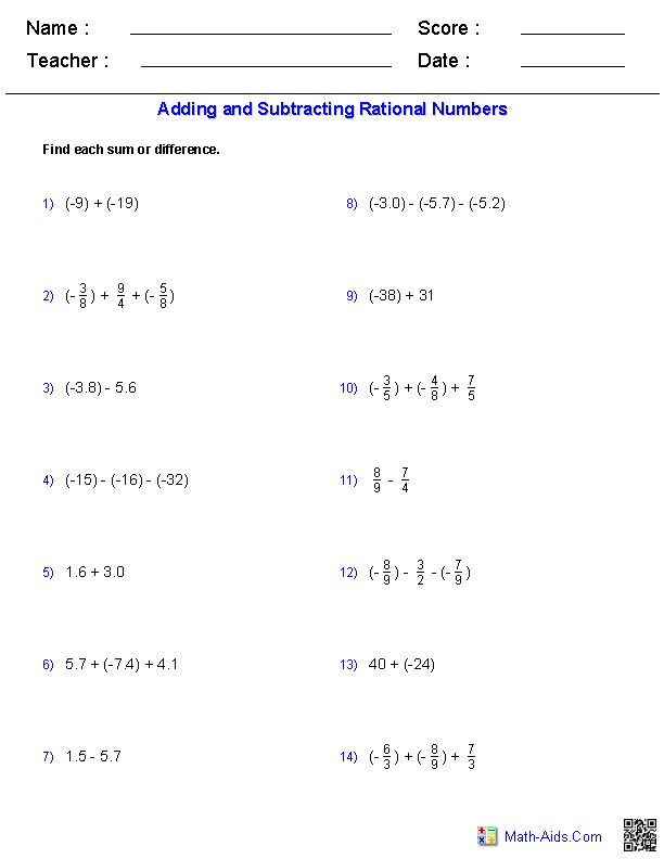 12 best Adding and subtracting of rational numbers images on – Rational Number Worksheets