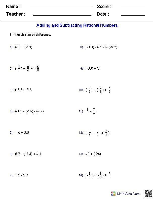 ... 444 Best Math AidsCom Images On Pinterest Worksheets, Algebra 2   Algebraic  Subtraction Worksheets ...