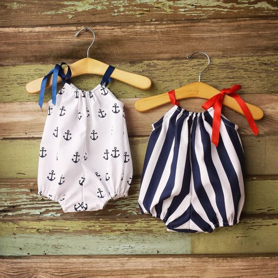 Beach Bubble Romper, Sunsuit, Anchors, Navy, Summer baby clothes, girls nautical, cake smash outfit, coming home outfit, fourth of july