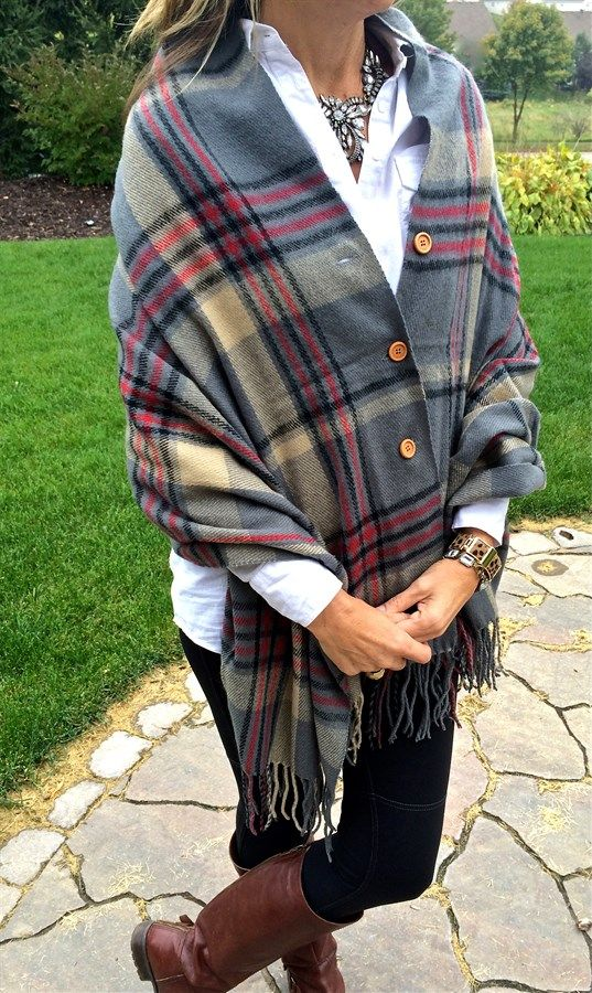 Plaid Button Blanket Scarf/Shawl – 4 Color Options
