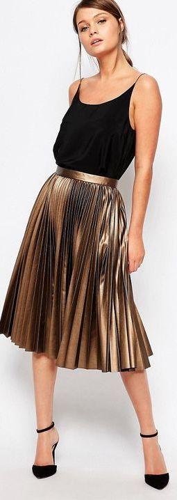 Pleated Coated Midi Skirt