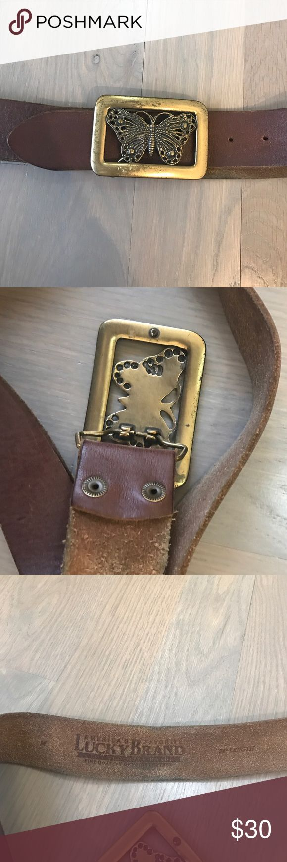 Luck Brand Belt with brass butterfly buckle Lucky brand real leather belt in a soft brown size medium with heavy brass belt buckle Lucky Brand Accessories Belts