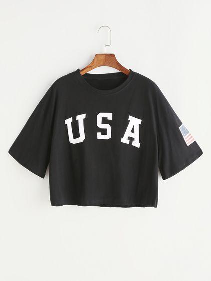 Camiseta corta con estampado de letra con hombros caídos - negro