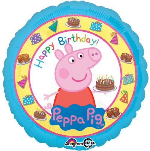 """Included in this bouquet: 7 Balloons Total 1 – 18"""" """"Happy Birthday Peppa Pig"""" Round Balloon 1 – 18"""" Turquoise Round Balloon 5 - 12"""" Mixed Latex Balloons (Lime Green, White Polka Dots on Pink, Orange,"""