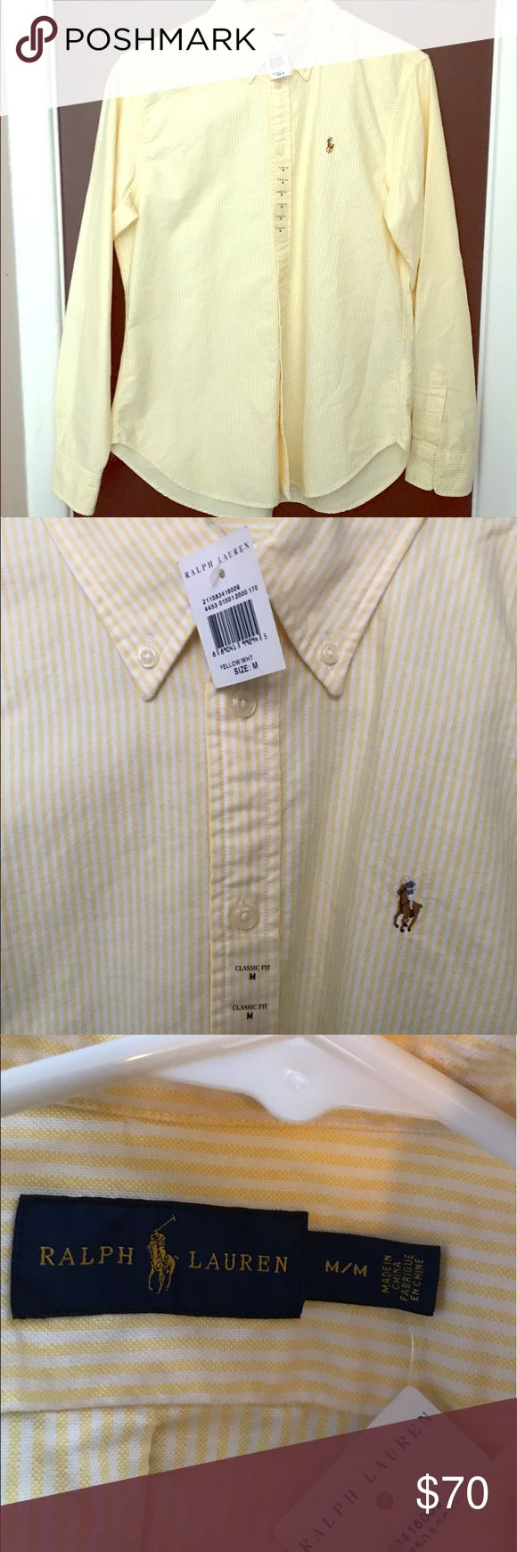 NEW Ralph Lauren Oxford Shirt Ralph Lauren Women's Oxford Shirt in Yellow & White Pinstripes. Classic Fit. Medium Ralph Lauren Tops Button Down Shirts