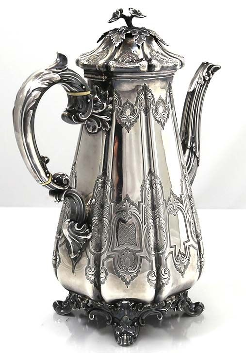 Antique English silver coffee pot by Barnard Brothers,ca.1844