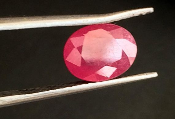 1 Pc 10.5x12mm Ruby Faceted Oval Cut Stone Glass by gemsforjewels