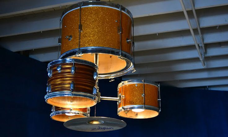 weird: Drums Chandeliers, Lights Fixtures, Drums Sets, Boys Rooms, Men Caves, Music Rooms, Drums Kits, Drums Lights, Old Stuff