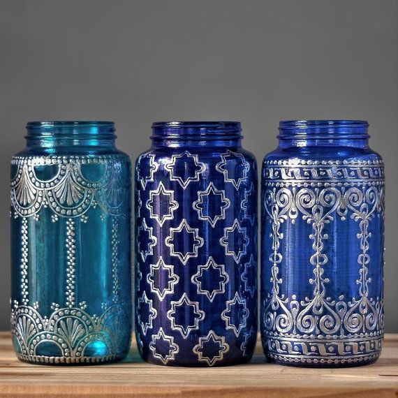 Mason Jar Vase, Boho Home Decor with Silver Metal Accents, Choose From Three Brilliant Glass Shades and Henna Designs