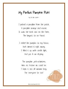 "{FREE} ""My Perfect Pumpkin Pick!"" -- A Seasonal Poem for Fall - MsJordanReads - TeachersPayTeachers.com"