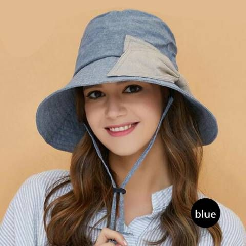 Bow wide brimmed hat for sun protection outdoor UV bucket hats with string