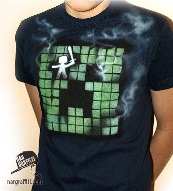 MINECRAFT Creeper inspired T-shirt   Gamer   Hand Painted   Custom named   best for kids, boys, girls   navy - pinned by pin4etsy.com