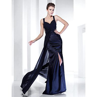 Sheath/ Column Straps Floor-length Chiffon Evening Dress With Split Front – USD $ 179.99