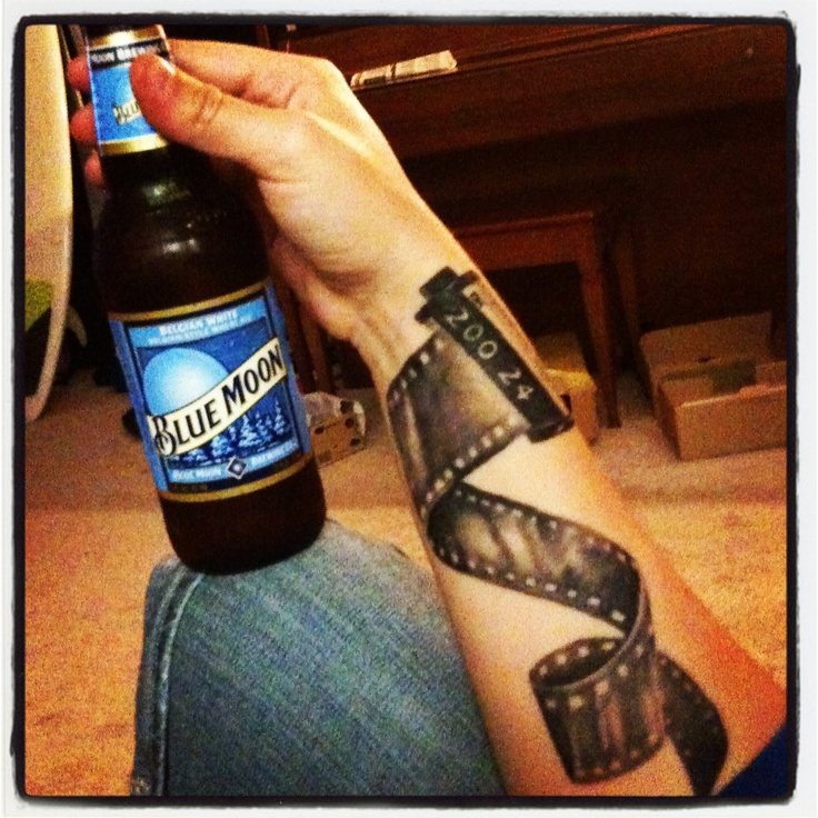 Blue Moon and a film tattoo. Rad. Gotta love seeing yourself pinned on Pinterest-- that's my arm! :) thanks Jesse Britten at Pegasus gallery in st. Augustine